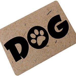 OHYESS Brown Lovely Dog Paw Prints Multisized Welc